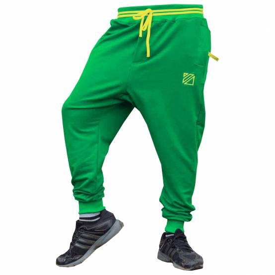 Tepláky pro parkour Soul Zelené, žlutá výšivka