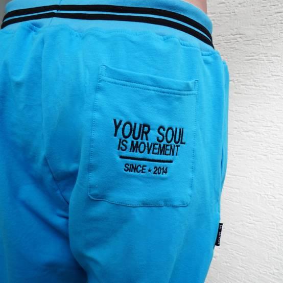 Tepláky pro parkour Soul Azurové, černá výšivka