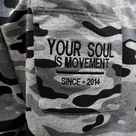 Tepláky pro parkour Soul Maskáčové, šedé