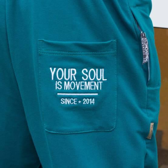Tepláky pro parkour Soul Modro-zelené, bílá výšivka