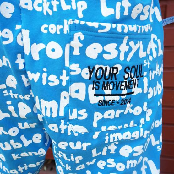 Tepláky pro parkour Soul Keywords Modré