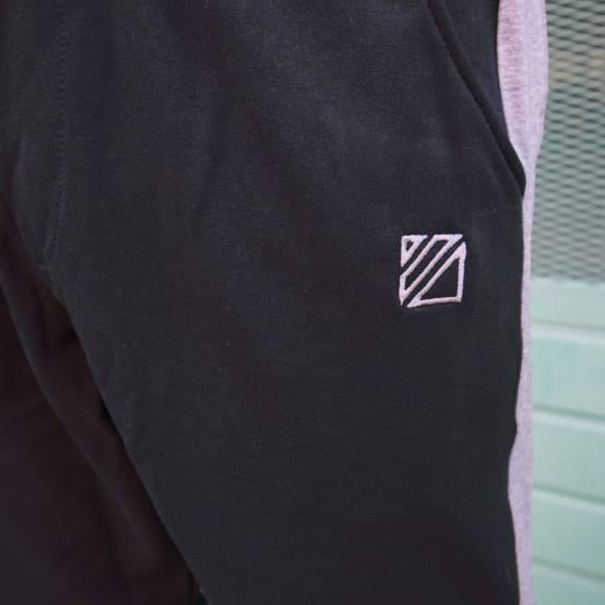 Tepláky pro parkour Force Černé, šedé pruhy