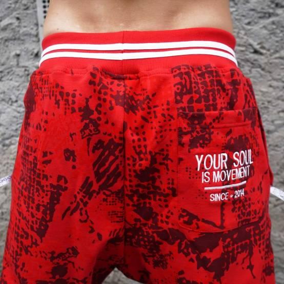 Tepláky pro parkour Soul Camouflage červené