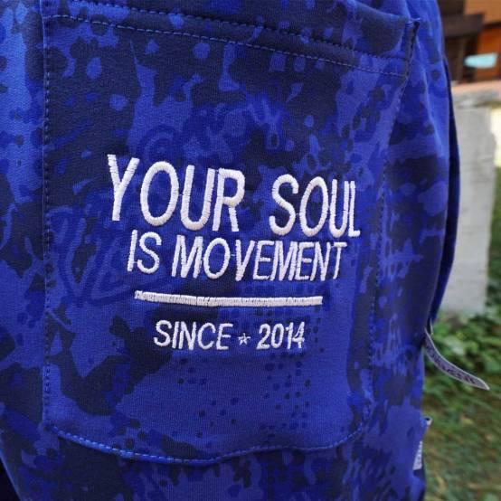 Tepláky pro parkour Soul Camouflage modré