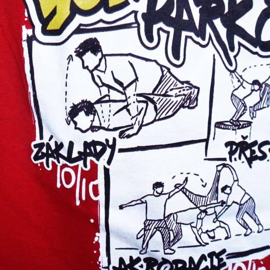 Tričko pro parkour Učím YouTubery Parkour Červené 2