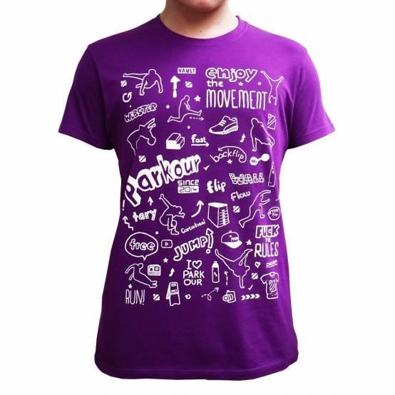 Tričko Parkour Doodle Purpurové