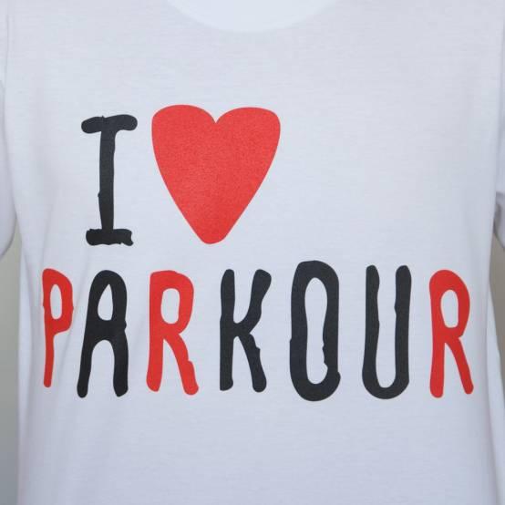 Tričko pro parkour Miluju Parkour Bílé