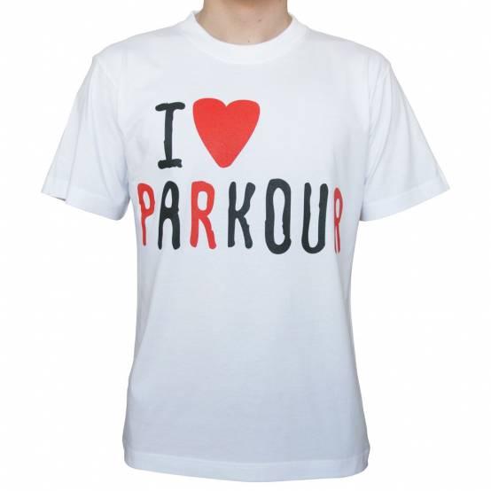 Tričko Miluju Parkour Bílé