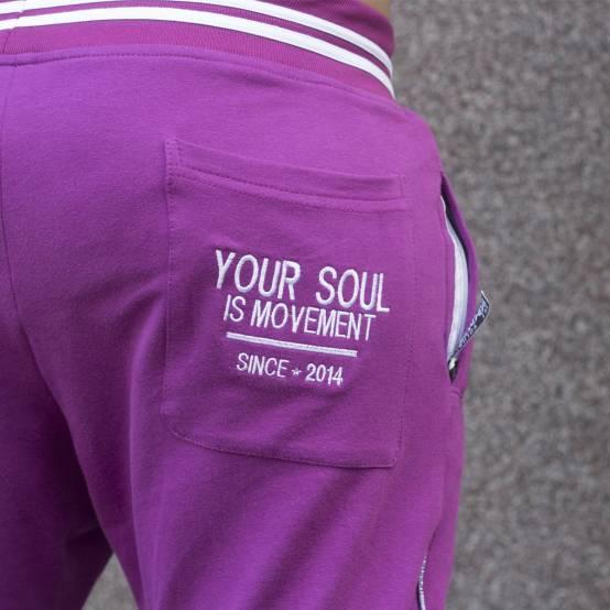 Tepláky pro parkour Soul Fialové, bílá výšivka